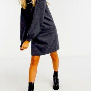 GAP Charcoal Sweater Crew Puff Sleeve Dress